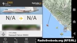 «Фалькон 900» заходить на посадку в Сочі