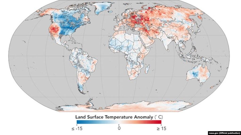 NASA: Украина попала в зону аномально высокой температуры