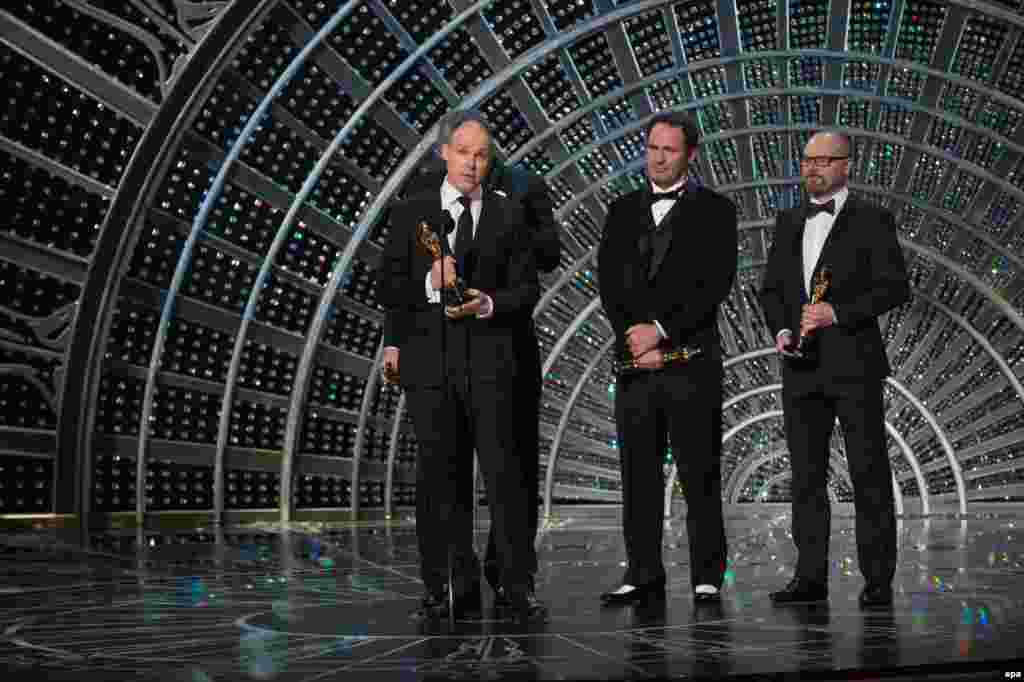 Paul Franklin, Scott Fisher and Andrew Lockley won the Oscar for Best Achievement in Visual Effects for science-fiction movie Interstellar.