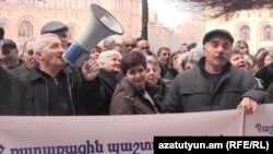 Armenia -- A protest action of workers of Nairit plant in Republic Square in Yerevan. 20Feb., 2015