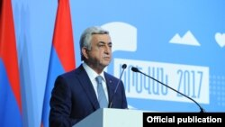 Armenia - President Serzh Sarkisian addresses the Sixth Armenia-Diaspora Conference in Yerevan, 18Sep2017.