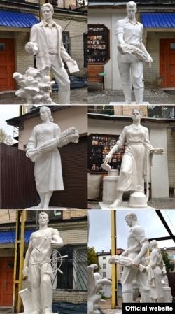 Скульптуры кампазыцыі «Труженики Белоруссии» пасьля рэстаўрацыі