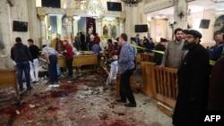 На месте взрыва в городе Танта, 9 апреля 2017