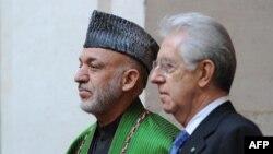 Ҳомид Карзай ва Марио Монтӣ