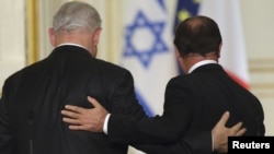 فرانسوا اولاند (راست) در کنار بنیامین نتانیاهو
