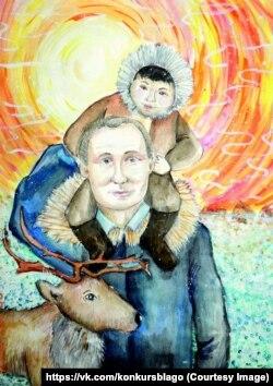 Путин, чукча и олень. Рисунок 12-летней Олеси Дробышевой