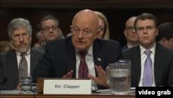 АҚШ Миллий разведка хизмати бошлиғи Жеймс Клеппер Сенат эшитувларида.