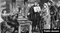 Уільям Кэкстан, ангельскі першадрукар (гравюра ХІХ ст.)