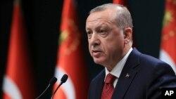 Түркия президенті Режеп Тайып Ердоған баспасөз мәслихатында. Анкара, 18 сәуір 2018 жыл.
