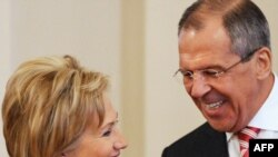Foreign Minister Sergei Lavrov meets with his U.S. counterpart Hillary Clinton in Moscow.