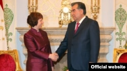 Tajikistan -- President Emomali Rahmon (R) meets with EU foreign policy chief Catherine Ashton (L) in Dushanbe city, 29Nov2012