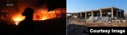 Завод по производству оливкового масла в Бнине во время пожара от бомбардировки зажигательными бомбами и на следующее утро