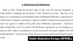 Iz odluke Raspravnog vijeća Haškog suda