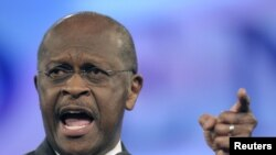 Herman Cain speaks to delegates during the Florida Republican Party Convention in Orlando, Florida in September.