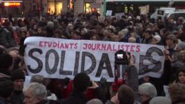 Демонстрация солидарности с погибшими журналистами, Париж