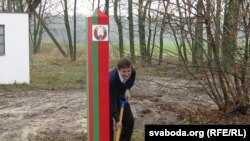Belarusian presidential candidate Yaraslau Ramanchuk campaigning on the Belarus-Poland border in November.