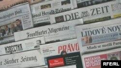 Generic – A photo of International and Russian newspapers, Prague, 19Jun2014