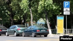 Armenia - Cars parked in downtown Yerevan, 07Aug2013.