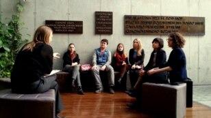 Czech Republic--2014-2015 Vaclav Havel Journalism Fellows visiting Czech Radio. Prague, March 3, 2015.