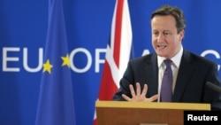 دیوید کامرون، نخست وزیر بریتانیا، در نشست روز جمعه سران اتحادیه اروپا- بروکسل