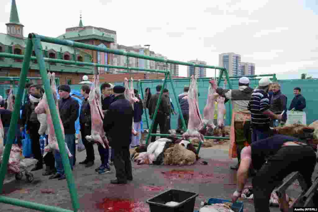 Sheep are butchered in Kazan, Tatarstan.