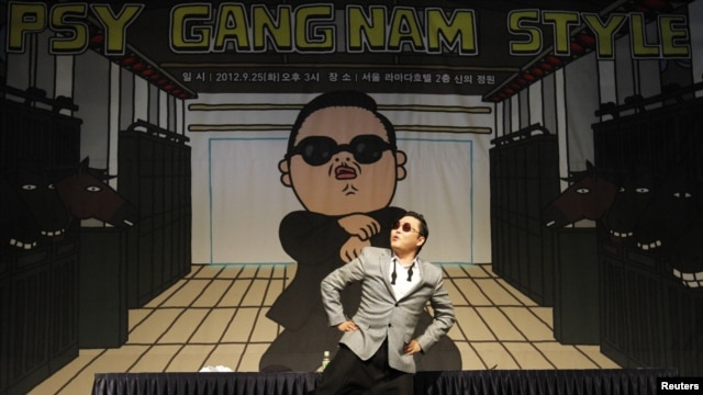 South Korean singer Psy strikes a pose at a news conference at a hotel in Seoul in September.