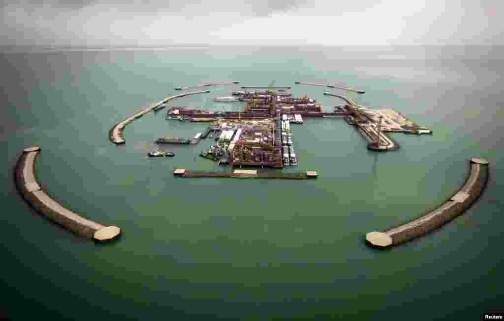 An aerial view shows artificial islands on Kashagan offshore oil field in the Caspian Sea.
