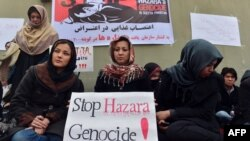 Afghan Shi'ite Muslim Hazara women participate in a hunger strike to protest a bombing in Pakistan targeting Shi'a that killed 89 people in February.