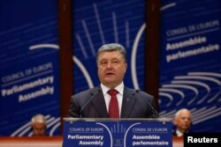 Петро Порошенко виступає на сесії ПАРЄ, Страсбург, 26 червня 2014 року