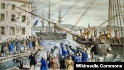 """""""Уничтожение чая в бостонской гавани"""". Литография Натаниэля Каррьера. 1846"""