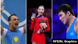 Слева направо: тяжелоатлет Илья Ильин, фигуристка Элизабет Турсынбаева и борец Нуркожа Кайпанов.