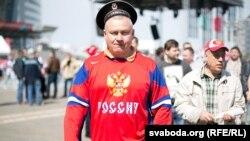 Фанат российской хоккейной сборной в ходе чемпионата мира в Минске, май 2014 года.