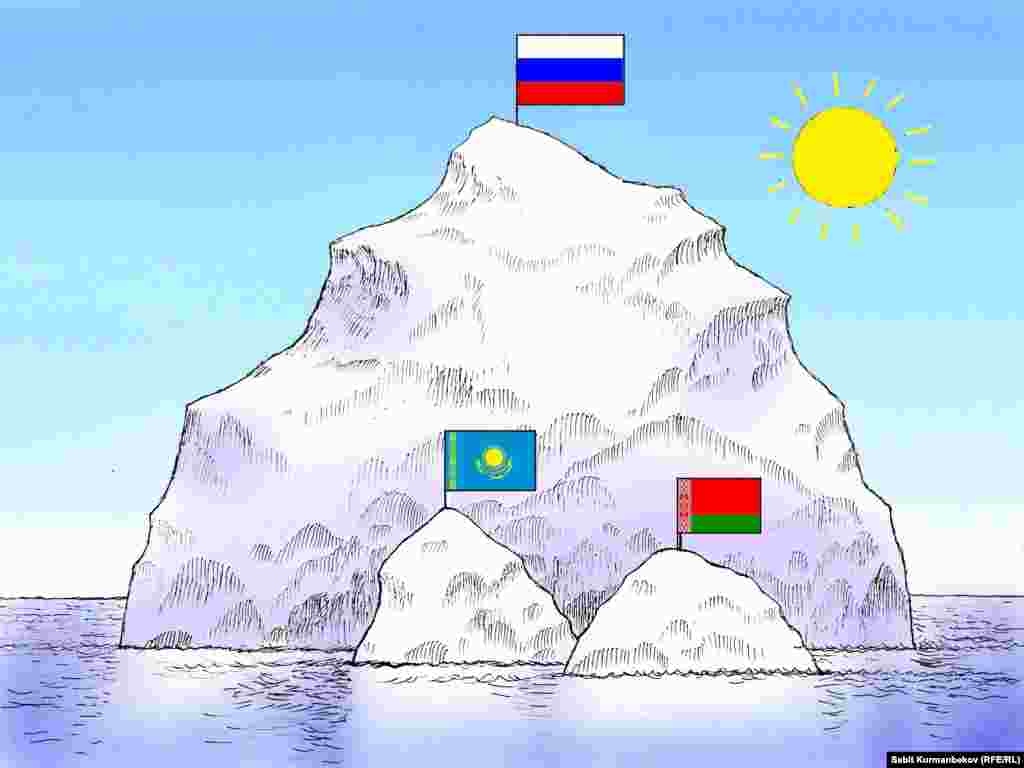Icebergs Under A Scorching Sun Amid gloomy predictions for the Russian economy, many Kazakhs have doubts about prospects of being in an Eurasian Economic Union with Belarus, Russia, and Armenia.