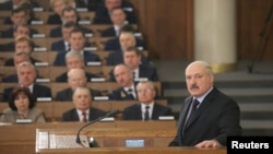 Belarusian President Alyaksandr Lukashenka gives his annual state-of-the-nation address in Minsk.