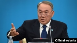 Kazakh President Nursultan Nazarbaev speaks at the congress of his ruling Nur Otan party in Astana on January 29.
