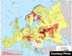 Эўрапейская мапа забруджаньня цэзіем