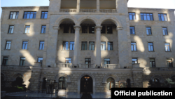 Azerbaijan -- The Ministry of Defense building in Baku.
