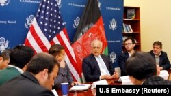 U.S. special envoy for peace in Afghanistan, Zalmay Khalilzad, speaks during a roundtable discussion with Afghan media at the U.S Embassy in Kabul on January 28.