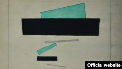 Николай Суетин. Супрематическая композиция с черным прямоугольником. Около 1922. Бумага, графитный карандаш, тушь, акварель. 17,8 х 26. SEPHEROT Foundation
