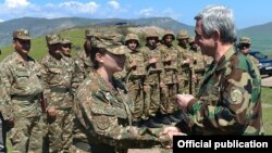 Nagorno-Karabakh - Armenian President Serzh Sarkisian awards medals to soldiers, 19Apr2016.