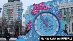 Алматыдағы Республика алаңындағы Жаңа жыл қарсаңындағы декорация. 20 желтоқсан 2014 жыл.