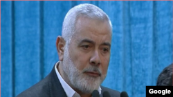 Hamas leader Esmail Haniya delivering obituary speech for Soleimani. Tehran, December 6, 2020.