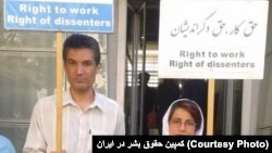 Farhad Meysami (L) women's rights activist and Nasrin Sotoudeh , lawyer & civil rights activist (Right), protesting in Theran. File photo