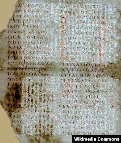 Рукописная книга VI века. Нижний слой – Евангелие от Луки на греческом языке