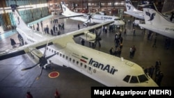 French-made ATR-72 planes owned by Iran Air sit on the hanger of in Tehran, undated.