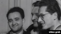 Violoniștii laureați ai primului Concurs Ceaikovski în 1958: Victor Pikaisen, Valeri Klimov și Ștefan Ruha