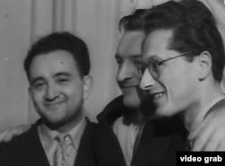 Trei dintre laureații secției de vioară la Primul Concurs din 1958: Victor Pikaisen, Valeri Klimov și Ștefan Ruha
