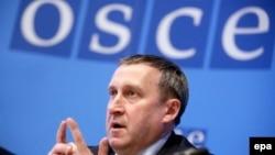 Временный министра иностранных дел Украины Андрей Дещица в пресс-конференции по итогам заседания Постоянного совета ОБСЕ. Вена, 20 марта 2014 года.