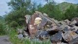 Kazakhstan - Color portrait of Vladimir Lenin on a fragment of rock near the road to the lake Issyk. Almaty region, 18July 2010.