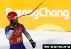 Albin Tahiri trains at Jeongseon Alpine Center in Pyeongchang on February 8.